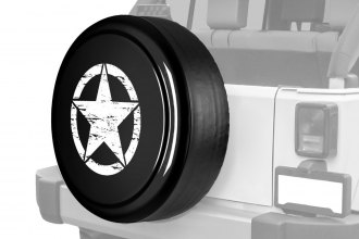 "Boomerang® - 32"" Rigid Series™ Black Spare Tire Cover and Oscar Mike Logo"