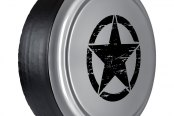 "Boomerang® - 32"" Rigid Series Bright Silver Metallic Tire Cover with Oscar Mike Logo"
