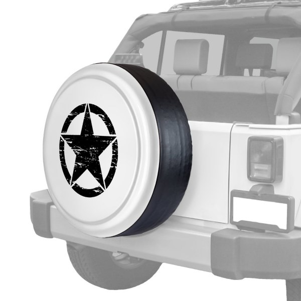 "Boomerang® - Rigid Series Bright White Tire Cover with Oscar Mike Logo (32"")"