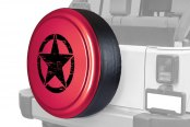 "Boomerang® - Rigid Series Deep Cherry Red Tire Cover with Oscar Mike Logo (32"")"