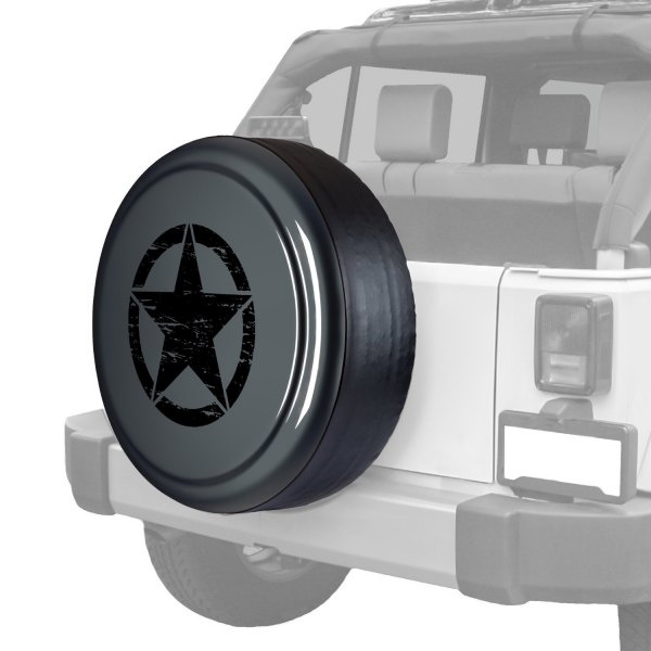 "Boomerang® - Rigid Series Dark Charcoal Pearl Tire Cover with Oscar Mike Logo (32"")"