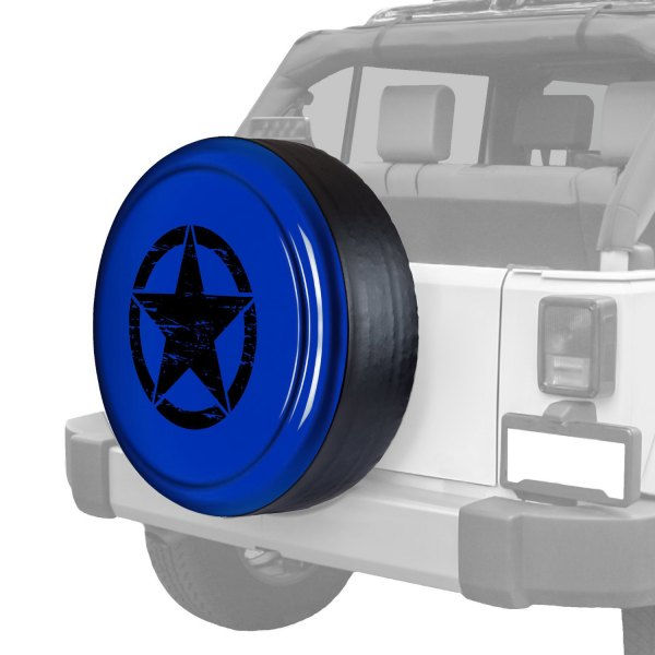 "Boomerang® - Rigid Series Deep Water Blue Pearl Tire Cover with Oscar Mike Logo (32"")"