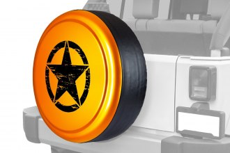 "Boomerang® RG-OM32-MT - Rigid Series Mango Tango Pearl Tire Cover with Oscar Mike Logo (32"")"