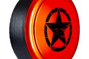 "Boomerang® - 32"" Rigid Series Sunburst Orange Pearl Tire Cover with Oscar Mike Logo"