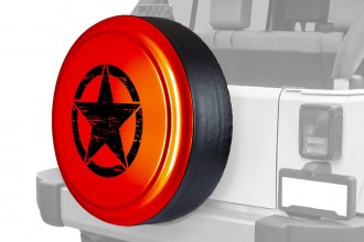 "Boomerang® - Rigid Series Sunburst Orange Pearl Tire Cover with Oscar Mike Logo (32"")"