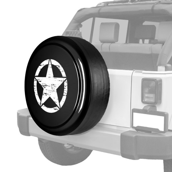 "Boomerang® - Rigid Series Unpainted black ABS faceplate Tire Cover with Oscar Mike Logo (32"")"