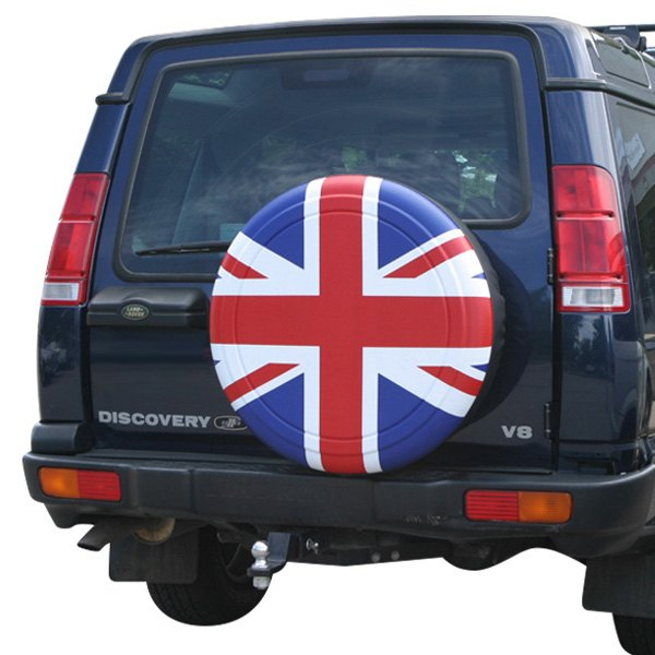 "Image may not reflect your exact vehicle! Boomerang® - Rigid Series Red, White and Blue Union Jack Tire Cover (27"")"