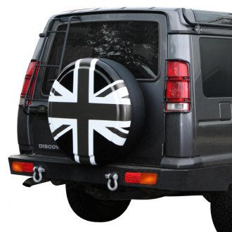 "Boomerang® - 29/30"" Rigid Series Union Jack Black, White and Pewter Tire Cover"
