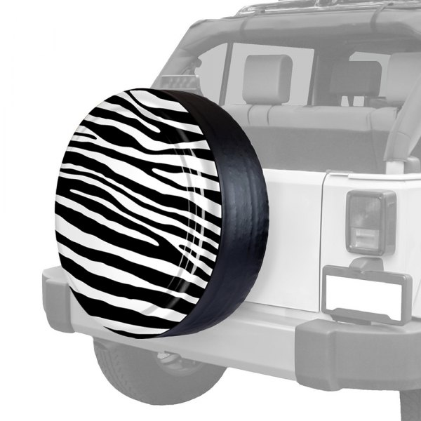 "Image may not reflect your exact vehicle! Boomerang® - Rigid Series Black and White Zebra Print Tire Cover (28"")"