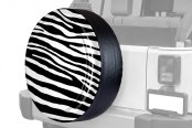 "Image may not reflect your exact vehicle! Boomerang® - Rigid Series Black and White Zebra Print Tire Cover (33"")"