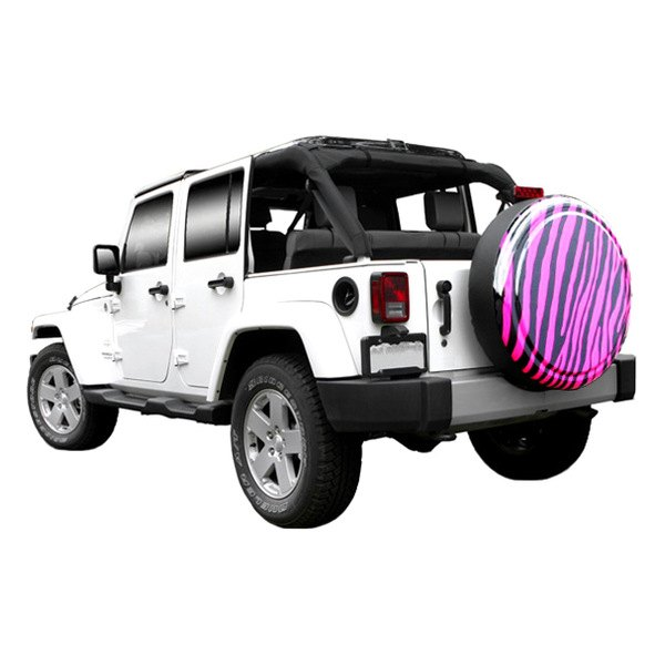 "Image may not reflect your exact vehicle! Boomerang® - Rigid Series Black and Pink Zebra Print Tire Cover (27"")"