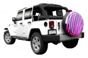 "Image may not reflect your exact vehicle! Boomerang® - Rigid Series Black and Pink Zebra Print Tire Cover (28"")"