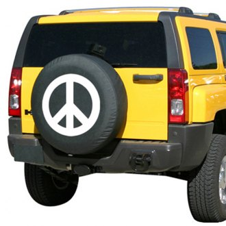 "Boomerang TC-PS30-W-15 - 29/30"" Soft Series Peace Sign White Print Tire Cover"