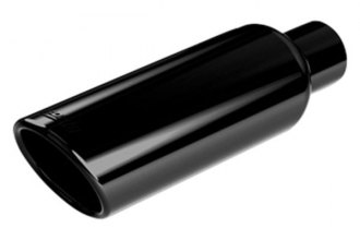 Borla® - Black Round Rolled Edge Angle Cut Tip