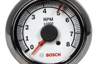 "Bosch® - 2-5/8"" Mini Super Tach II Tachometer (Chrome Bezel and White Faceplate)"