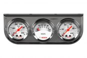 "Bosch® - 1-1/2"" StyleLine™ Mini Triple Gauge Kit (Chrome Panel and White Faceplate)"