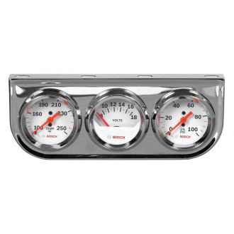 Bosch® - 2 StyleLine™ Triple Gauge Kit (Chrome Panel and White Faceplate)
