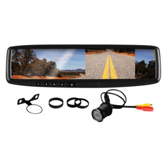 "BOSS® - Rear View Mirror with Built-In 4.3"" Monitor and Flush Mount Rear View Camera"