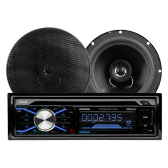 "BOSS® - Single DIN CD/AM/FM/MP3/WMA Receiver with Built-In Bluetooth and Two 6.5"" 2-Way Coaxial Speakers"
