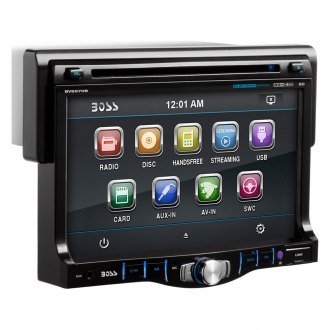"BOSS® - Single DIN DVD/CD/AM/FM/MP3/WMA Receiver with Drop Down 7"" TFT Touchscreen Monitor, Front Aux Input and Built-In Bluetooth"