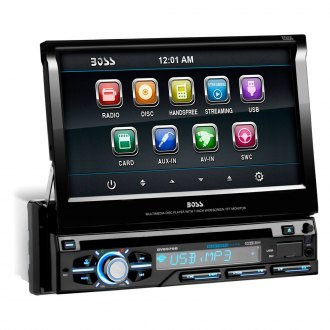 "BOSS® - Single DIN DVD/CD/AM/FM/MP3/WMA Flip-Up DVD Receiver with 7"" TFT Touchscreen Monitor and Built-In Bluetooth"