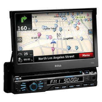 "BOSS® - Single DIN DVD/CD/AM/FM/MP3/WMA Receiver with 7"" Motorized, TFT Touchscreen Monitor with Built-In Bluetooth and GPS Navigation"