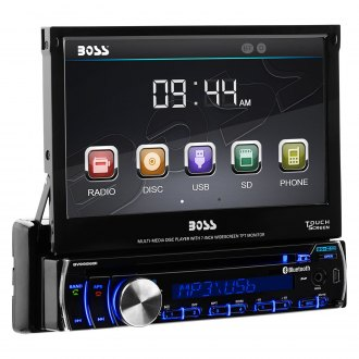 "BOSS® - Single DIN DVD/CD/AM/FM/MP3/WMA Receiver with 7"" Touchscreen TFT Monitor and Built-In Bluetooth"