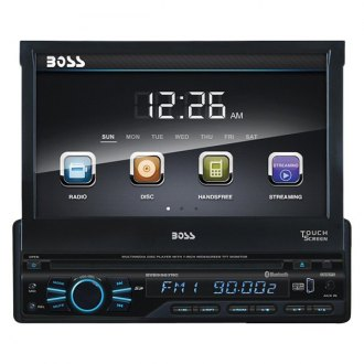"BOSS® - Single DIN DVD/CD/AM/FM/MP3/WMA Receiver with Motorized 7"" Touchscreen Display, Built-In Bluetooth and Rear View Camera"