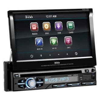 "BOSS® - Single DIN DVD/CD/AM/FM/MP3/WMA Receiver with 7"" Touchscreen Monitor and Aux Input"