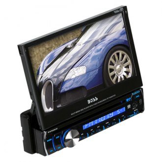 "BOSS® - Single DIN DVD/MP3/CD/AM/FM Receiver with 7"" Motorized Touchscreen Monitor"