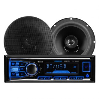 "BOSS® - Single DIN AM/FM/MP3/WMA Digital Media Receiver with Built-In Bluetooth and Two 6.5"" 2-Way Coaxial Speakers"