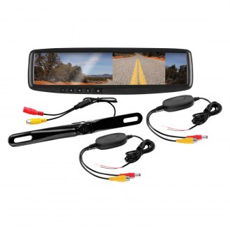 "BOSS® - Rear View Mirror with Built-In 4.3"" Monitor and Top License Plate Mount Rear View Camera"
