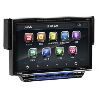"BOSS® - Single DIN DVD/CD/AM/FM/MP3/WMA/MP4 Receiver with Motorized 7"" Touchscreen Display and Built-In Bluetooth"