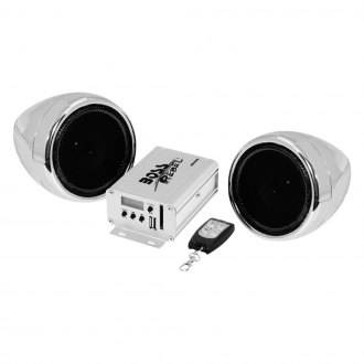 "BOSS® - 3"" Chrome 2-Channel Motorcycle/ATV 600W Waterproof Speaker Kit with Built-in FM Tuner"