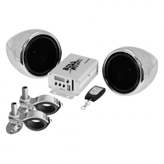 "BOSS® - 3"" Chrome 2-Channel Amplified Motorcycle/ATV 600W Weatherproof Speaker Kit"