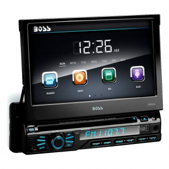 "BOSS® - Single DIN DVD/CD/AM/FM/MP3 Receiver with Motorized 7"" Touchscreen Display"