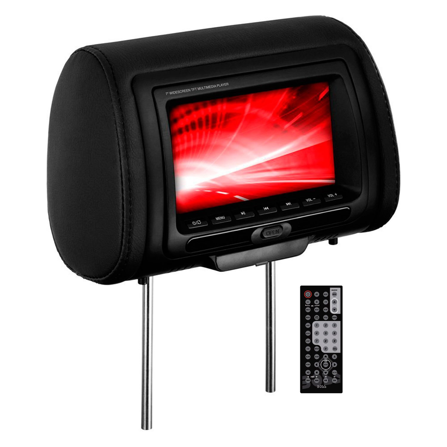 "BOSS® HIR70BGTA - 7"" Headrest Widescreen LCD Monitor with 3 Interchangeable Covers and Built-in Multimedia Player"