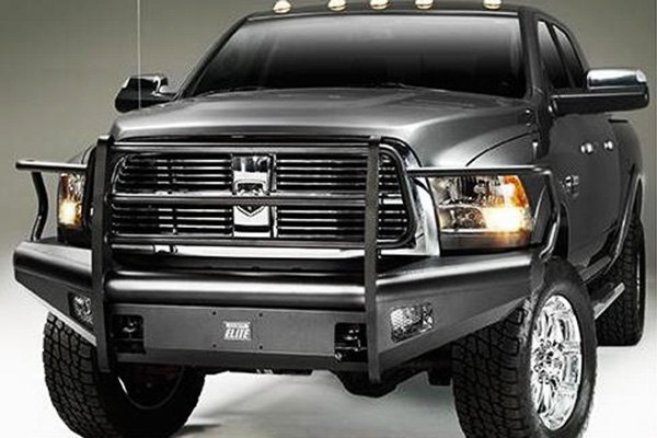 Image may not reflect your exact vehicle! Fab Fours™ - Elite Uncoated/Paintable Front Bumper with Grill Guard