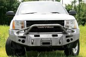 Image may not reflect your exact vehicle! Fab Fours™ - Premium Black Powder Coated Front Bumper with Pre-Runner Grill Guard