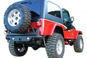 Image may not reflect your exact vehicle! Rampage® - Recovery Textured Black Rear Bumper with Swing Away Tire Mount