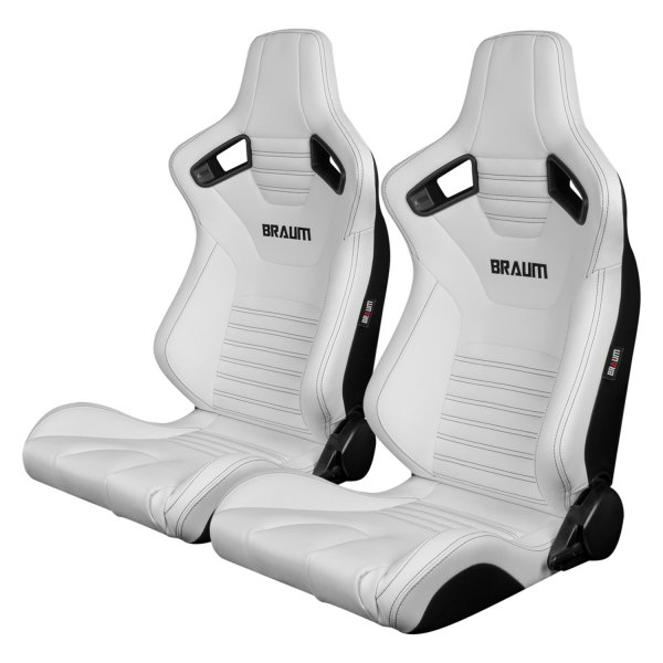 Braum® - Elite-X Series White Leatherette Carbon Fiber Racing Seats with Black Stitching