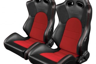 Braum® - Advan Series Carbon Fiber Sport Seats, Black Leatherette with Red Fabric Inserts