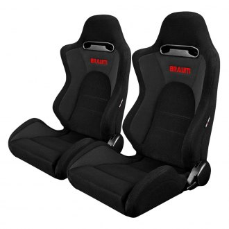 Braum® - S8 Series V1 Sport Seats, Black and Gray Fabric with Gray Stitches