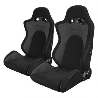 Braum® - S8 Series V2 Sport Seats, Black and Gray Fabric with Gray Stitches