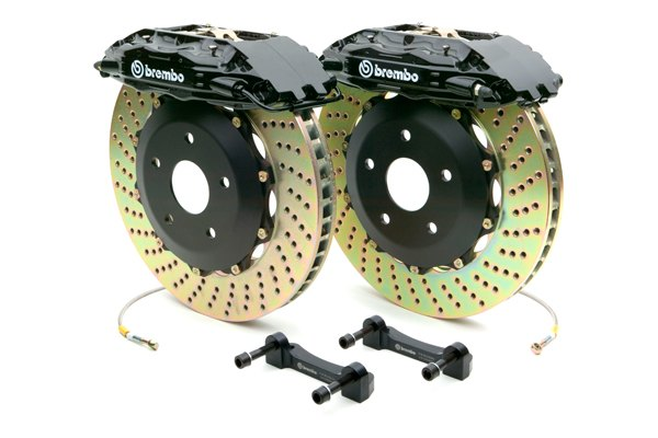 Brembo® - GT Series Cross Drilled Black Brake Kit (4-Piston Caliper, 2-Piece Rotor)