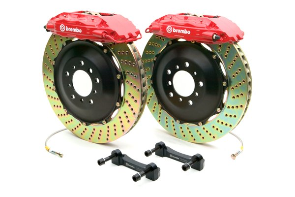 BREMBO� - GT Series Cross Drilled Red Brake Kit (4-Piston Caliper, 2-Piece Rotor)