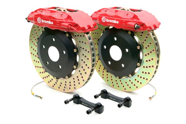 Brembo® - GT Series Cross Drilled Red Brake Kit (4-Piston Caliper, 2-Piece Rotor)
