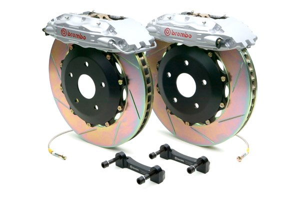Brembo® - GT Series Slotted Silver Brake Kit (4-Piston Caliper, 2-Piece Rotor)