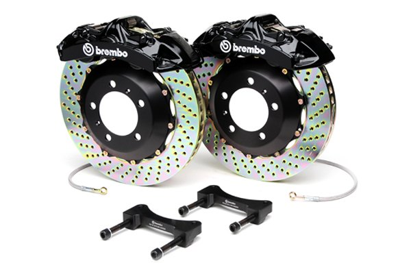 Brembo® - GT Series Cross Drilled Black Brake Kit (6-Piston Caliper, 2-Piece Rotor)