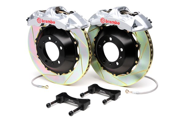 Brembo® - GT Series Slotted Silver Brake Kit (6-Piston Caliper, 2-Piece Rotor)